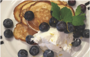American platters with lemon and blueberries